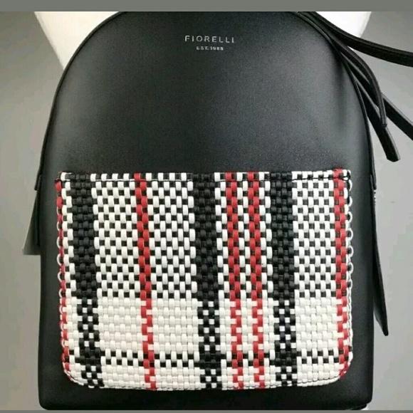 Fiorelli Anouk Plaid Red Black Mono Check Backpack
